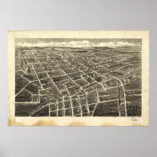 Mapa panorámico antiguo de Statesville N. Carolina Poster