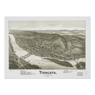 Mapa panorámico antiguo de Tionesta Pennsylvania Póster