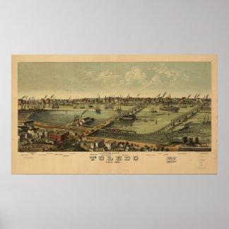 Mapa panorámico antiguo de Toledo Ohio 1876 Posters
