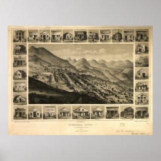 Mapa panorámico antiguo de Virginia City Nevada 18 Poster