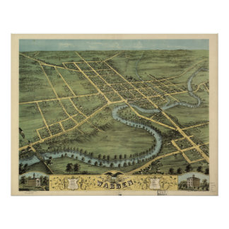 Mapa panorámico antiguo de Warren Ohio 1870 Póster