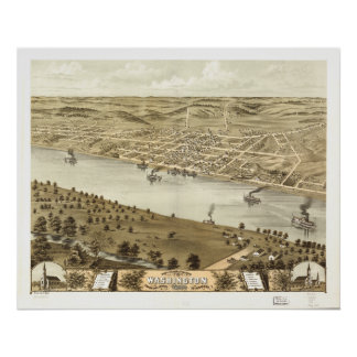 Mapa panorámico antiguo de Washington Missouri 186 Impresiones