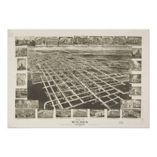 Mapa panorámico antiguo de Wilson N. Carolina 1908 Posters