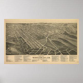Mapa panorámico antiguo de Winston-Salem N. Caroli Posters