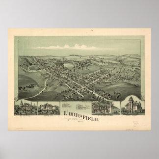 Mapa panorámico antiguo de Woodsfield Ohio 1899 Impresiones