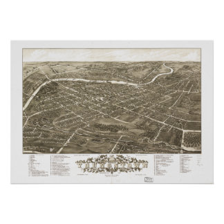 Mapa panorámico antiguo de Youngstown Ohio 1882 Posters