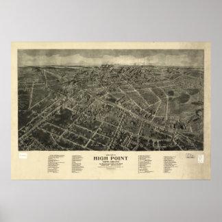 Mapa panorámico antiguo del punto álgido N. Caroli Posters