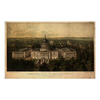Mapa panorámico antiguo del Washington DC 1857 Poster