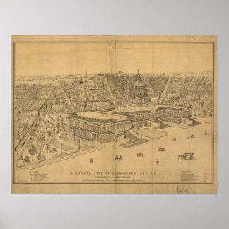 Mapa panorámico antiguo del Washington DC 1872 Poster