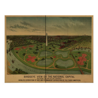Mapa panorámico antiguo del Washington DC 1888 Poster