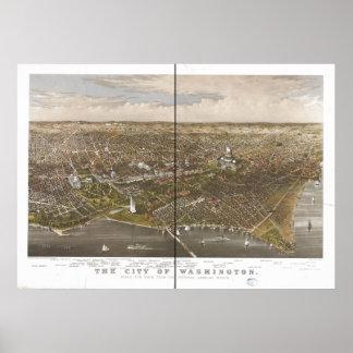 Mapa panorámico antiguo del Washington DC 1892 Poster