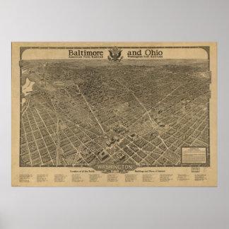 Mapa panorámico antiguo del Washington DC 1923 Posters
