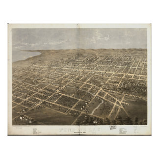 Mapa panorámico antiguo Fond du Lac WI 1867 Impresiones