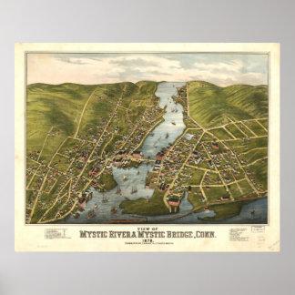 Mapa panorámico de Connecticut 1879 místicos del Póster