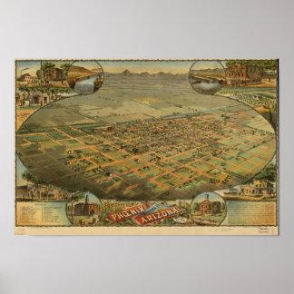 Mapa panorámico de Phoenix Arizona 1885 Póster