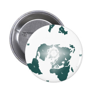 Mapa plano de la tierra, mapa equidistante chapa redonda de 5 cm
