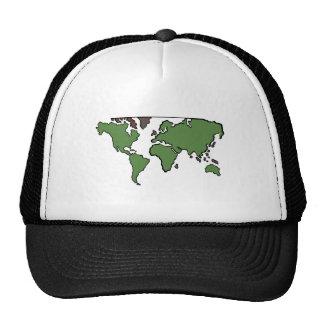 Mapa plano de los continentes gorros bordados