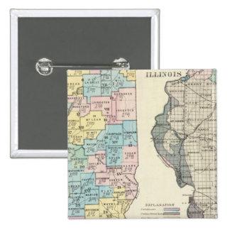 Mapa político de Illinois Chapa Cuadrada 5 Cm