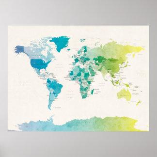 Mapa político del Watercolour del mundo Impresiones