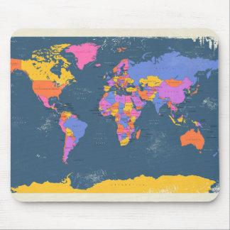 Mapa político retro del mundo alfombrilla de ratón