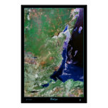 Mapa por satélite de la impresión de la foto del p impresiones