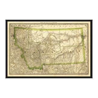 Mapa puesto en un índice del condado de Montana Impresión En Lienzo