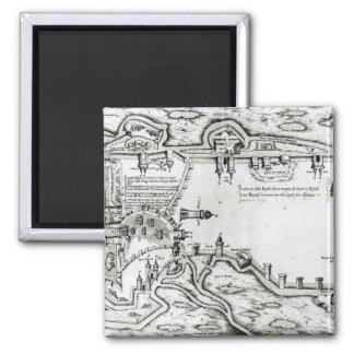 Mapa que ilustra La Rochelle ocupado Imán Cuadrado