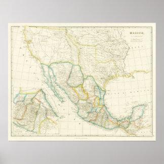 Mapa que muestra Tejas como república Póster