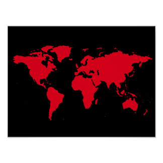 mapa rojo del mundo en negro póster