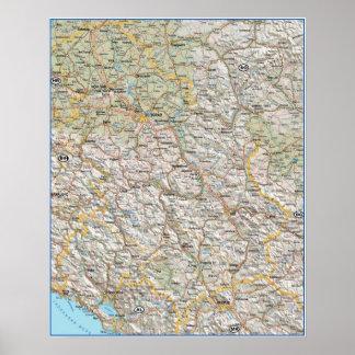 Mapa Srbija Crna Gora Póster