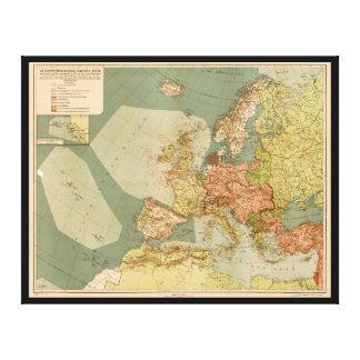 Mapa submarino alemán de la Primera Guerra Mundial Impresión En Lienzo