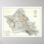 Mapa topográfico 1938 de Oahu Hawaii Posters