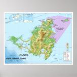 Mapa topográfico de la isla caribeña de San Martín Posters