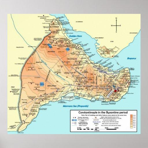 Mapa topográfico del bizantino de Constantinopla Impresiones