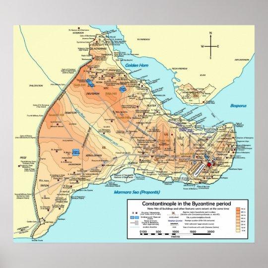 Mapa topográfico del bizantino de Constantinopla Póster