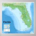 Mapa topográfico del estado de la Florida american Posters
