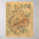 Mapa topográfico del parque nacional 1922 del Acad Posters