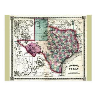 Mapa viejo 1866 de Tejas Postales