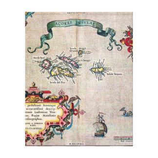 Mapa viejo de Azores - exploración de la Impresión De Lienzo