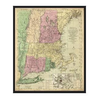Mapa viejo de Nueva Inglaterra (circa 1780) Impresión En Lienzo