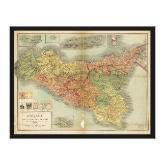 Mapa viejo de Sicilia a partir de 1900 (carta de Impresión En Lienzo