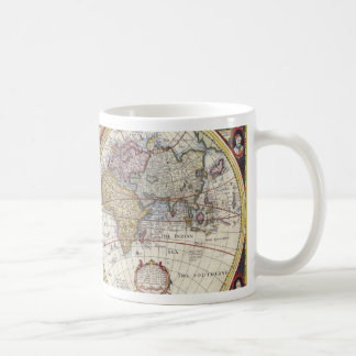 Mapa viejo del mundo taza de café