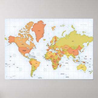 Mapa vivo del mundo póster