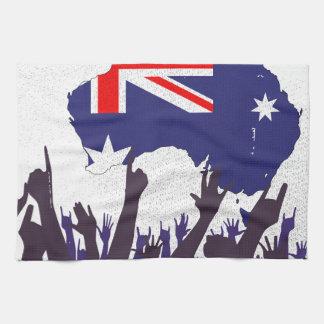 Mapa y bandera australianos con la audiencia paño de cocina