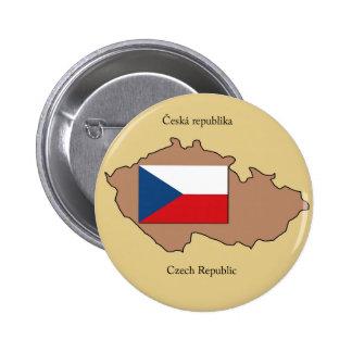 Mapa y bandera de la República Checa Chapa Redonda De 5 Cm
