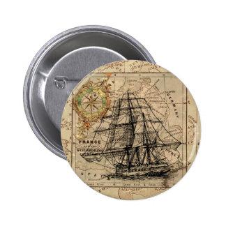 Mapa y nave del vintage chapa redonda de 5 cm