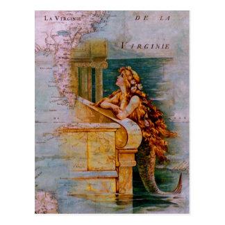 Mapa y sirena náuticos antiguos postal