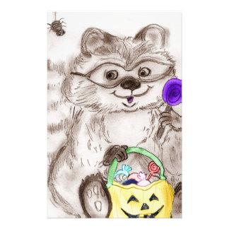 Mapache del feliz Halloween Tarjetas Publicitarias