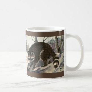 Mapache del vintage, criaturas del bosque del taza de café