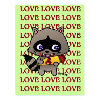 Mapache enamorado tarjeta postal